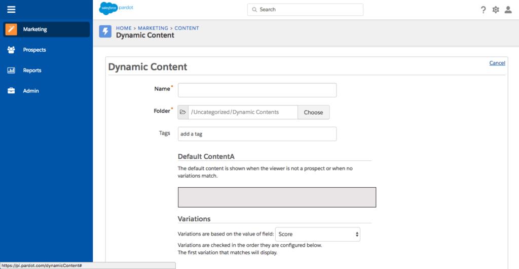 Pardot dynamic content shown in Pardot dashboard