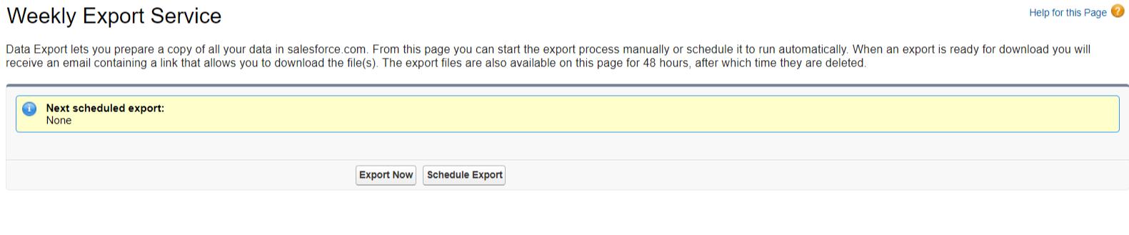 Salesforce Data Export step 2