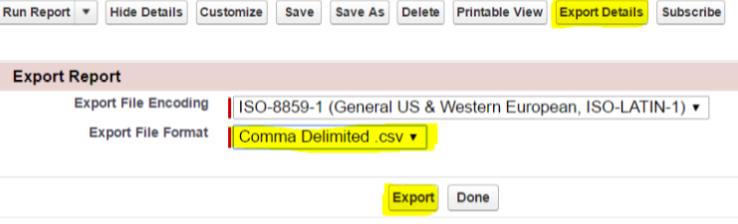 Salesforce Report Export