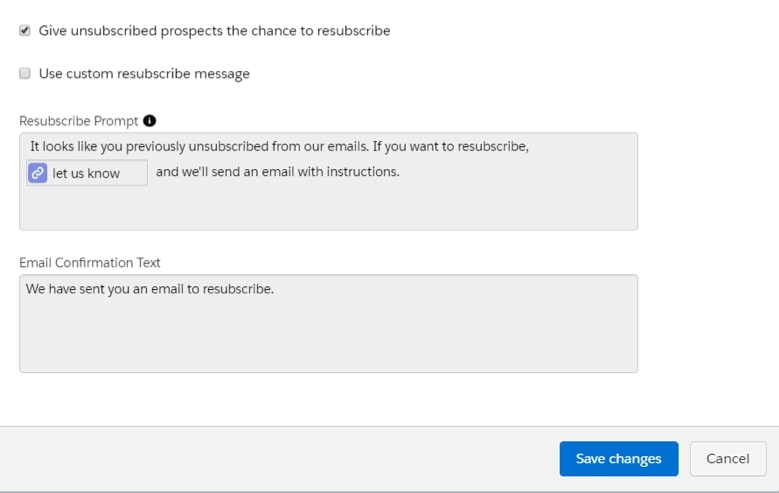 screenshot of resubscribe message field