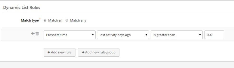 Pardot dynamic list rules screenshot