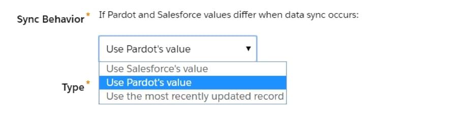 Pardot values for sync behaviour