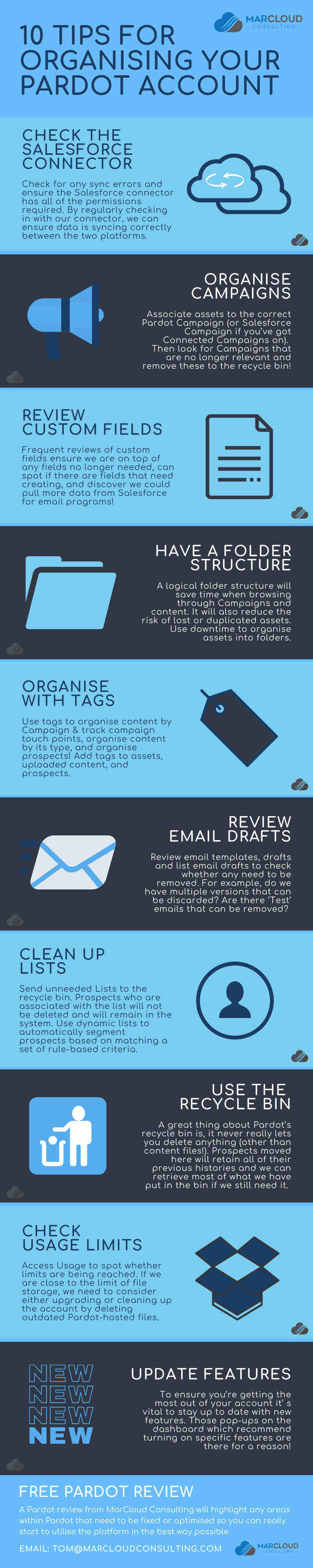 Tips for Organising Pardot Account Infographic