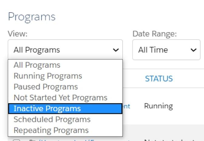 Screenshot of Inactive Programs