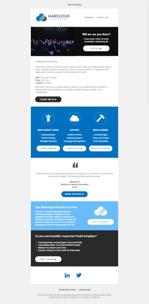 Pardot event email desktop
