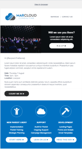 Pardot event email template