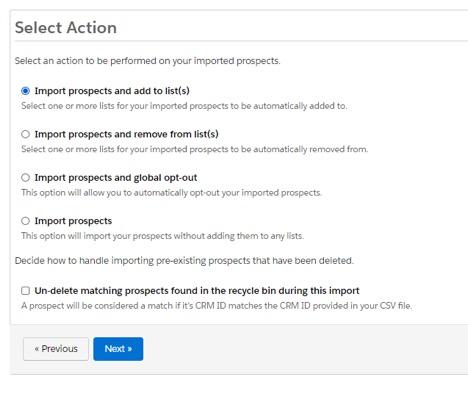 Screenshot of list import