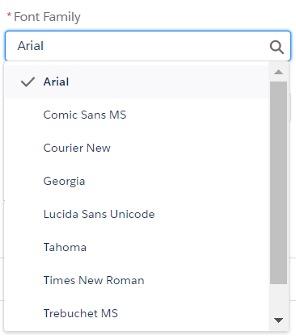 Fonts available screenshot