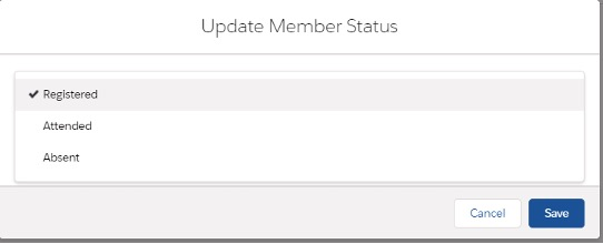 Screenshot of how to update member status