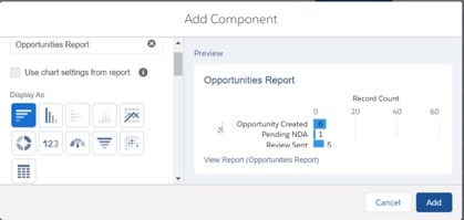 Screenshot of how to add a component in Salesforce Dashboard