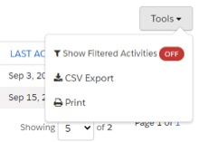 Screenshot of csv export