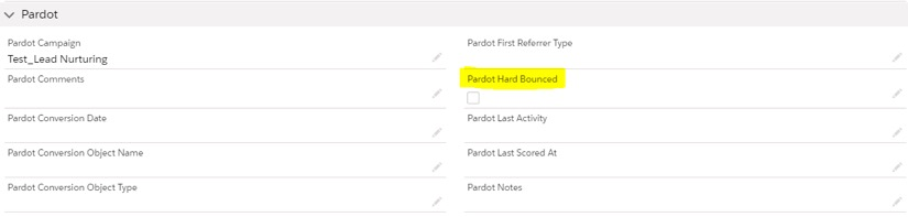 Pardot Hard Bounced screenshot
