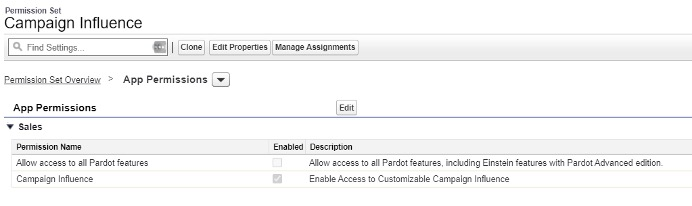 Screenshot changing permission set for campaign influence in Salesforce