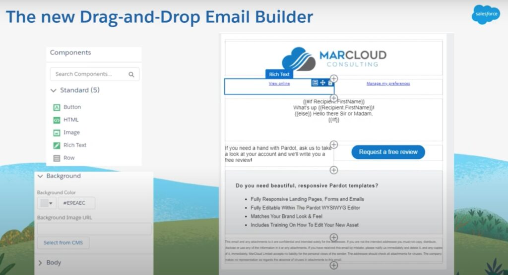 Screenshot of drag and drop email builder canvas slide