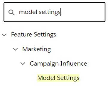 Screenshot of how to access model settings in Salesforce