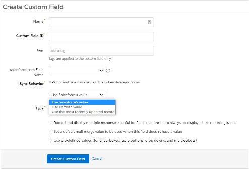 Screenshot of how to create custom field in Pardot