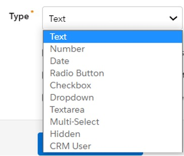 Screenshot of the type of field options in drop down menu in Pardot