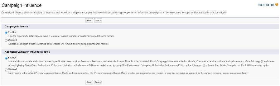 Settings page in Salesforce where you can enable Campaign Influence Settings screenshot