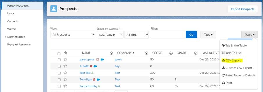 Importing prospects screenshot