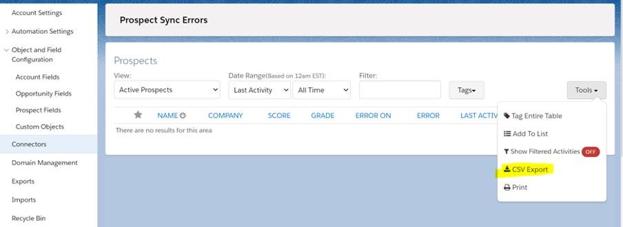 Prospect sync errors screenshot