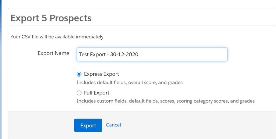 Screenshot of choosing the export types