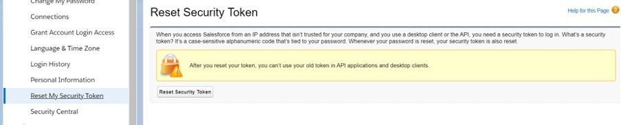 Screenshot of how to reset the Security token