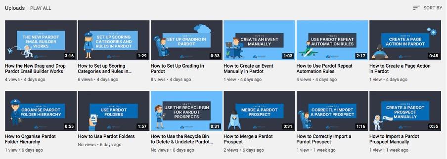 Pardot youtube videos screenshot