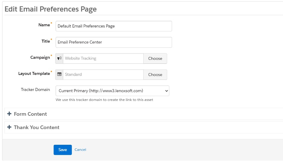 Screenshot of edit email preferences page