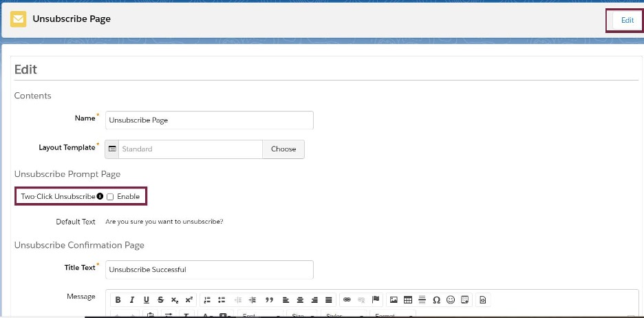 Screenshot of enable two click unsubscribe in Pardot
