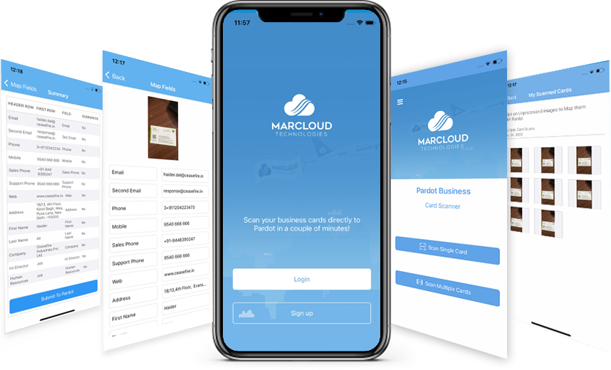 Features slides of MarCloud Technologies Business Card Scanner app
