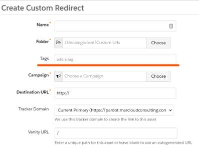 screenshot of create custom redirect window