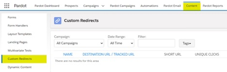 screenshot of how to create a custom redirect in Pardot