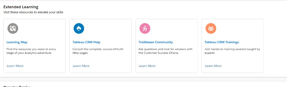 Screenshot of learning on Tableau CRM and the Analytics Studio.