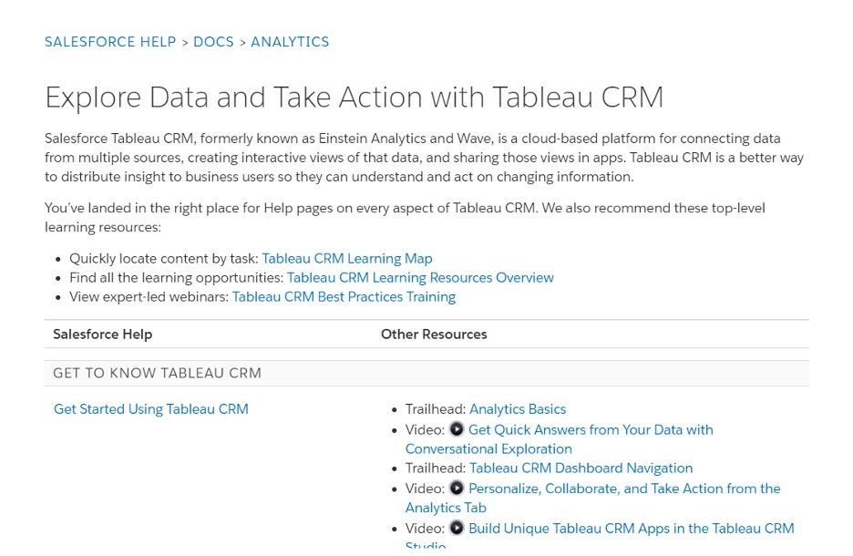 screenshot of salesforce help window for salesforce tableau crm