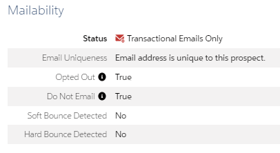 Pardot prospect profile with Mailability section