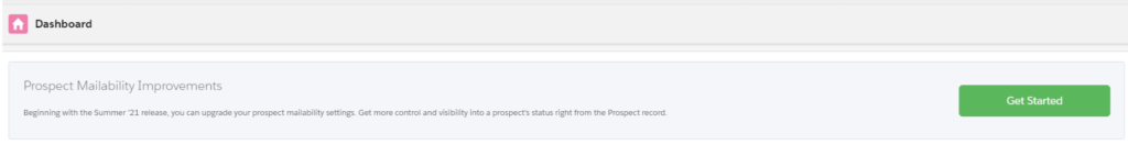 Dashboard alert for new Pardot Prospect Mailability feature