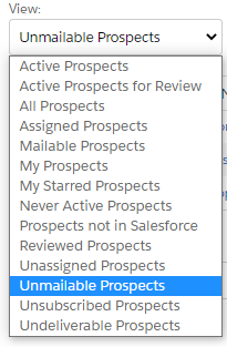 Dropdown showing unmailable prospects