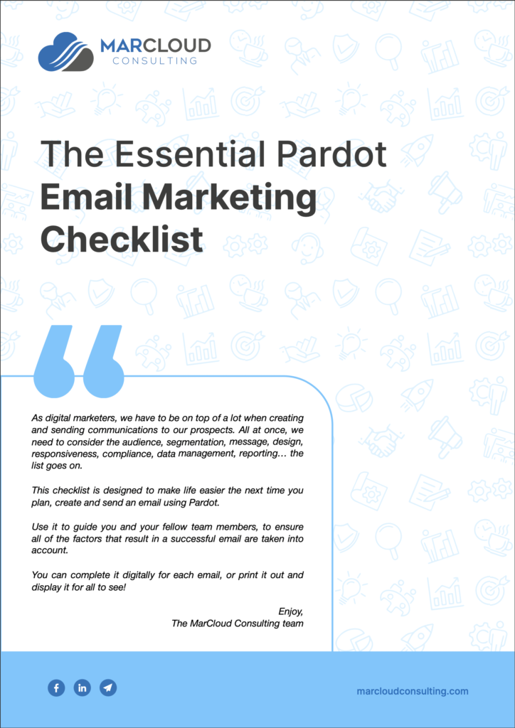 The Essential Pardot Email Marketing Checklist cover image