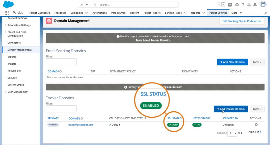 Screenshot of SSL status
