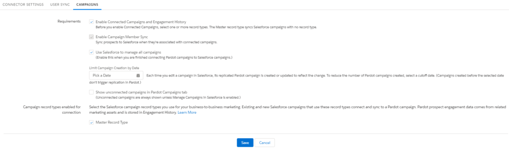 Screenshot of Pardot system demonstrating how to enable Connected Campaigns